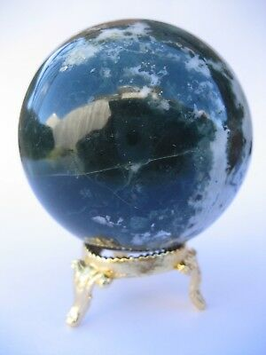 Bloodstone 6.5cm 338g Crystal Ball Orb Sphere with Gold Stand Strength (BL007)