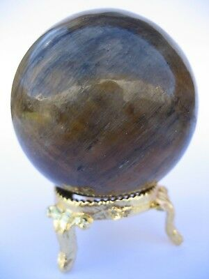 Yellow Tiger Eye 5.5cm 173g Crystal Ball Orb Sphere with Gold Stand (TEY002)