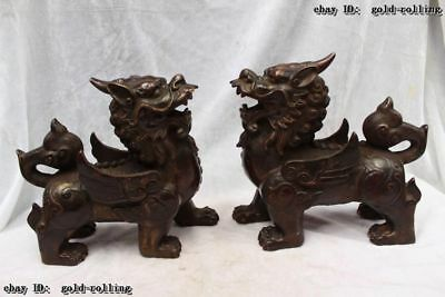 "8""China Purple Bronze carved excellent lifelike Foo Dogs unicorn Statue Pair"