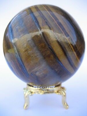 Yellow Tiger Eye 7cm 425g Crystal Ball Orb Sphere with Gold Stand (TEY007)