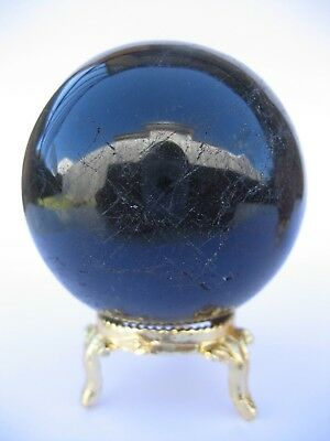 Black Tourmaline 6.4cm 329g Crystal Ball Orb Sphere with Gold Stand (BT002)