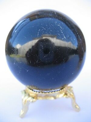 Black Tourmaline 5.7cm 241g Crystal Ball Orb Sphere with Gold Stand (BT003)