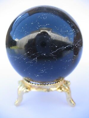 Black Tourmaline 5.5cm 218g Crystal Ball Orb Sphere with Gold Stand (BT004)