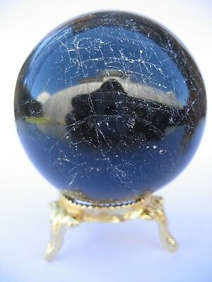 Black Tourmaline 6.2cm 305g Crystal Ball Orb Sphere with Gold Stand (BT007)