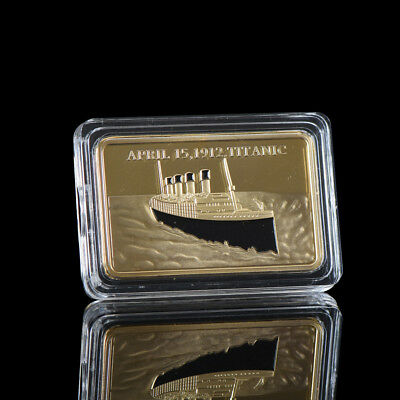 WR TITANIC Commemorative Bar -24kt Gold Plated Painted -In Memory of the Victims