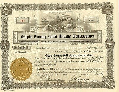Gilpin County Gold Mining Corporation, 1936, Colorado, STOCK CERTIFICATE-No 157