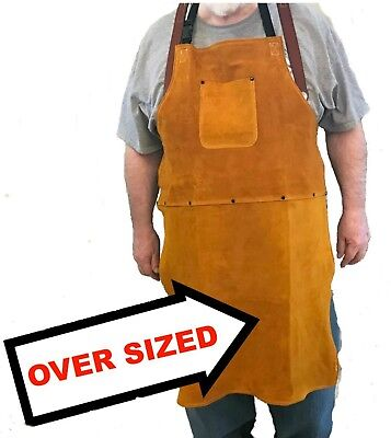 Oversized Leather Shop Apron / Safety Apparel For Welding, Woodworking, Smithing