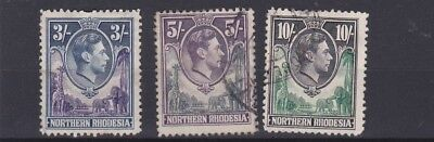 Northern Rhodesia  1938  S G 42 - 44    3/- To 10/-  Values  Used  Cat £70