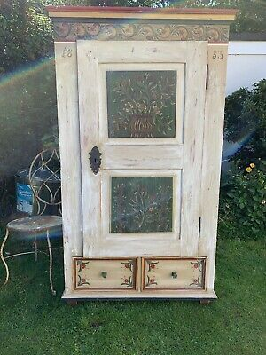 Beautiful Old Antique Painted Armoire Shop Prop Toy Storage Cottage Cupboard