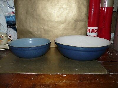 denby blue jetty large and medium mixing / serving bowl set