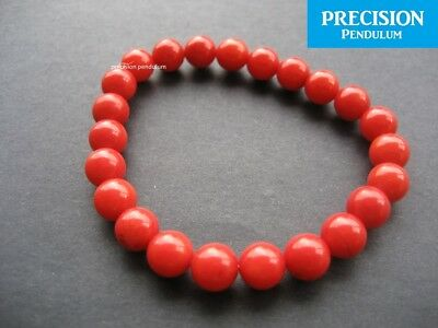 Natural Red Coral 6mm Beads Stretch Healing Bracelet Protection Gemstone Crystal