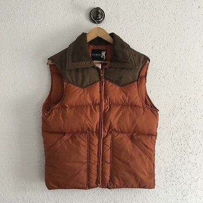 Vintage MENS Browning Goose Down filled puffer hunting VEST JACKET Size Small