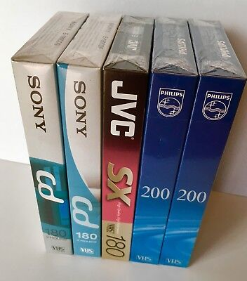 5 X Blank Sealed VHS Video Cassette Tapes E-180 E-200 3 Hour Mixed Brands New
