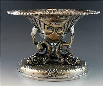 Antique French Grand Tour Silvered Bronze Dolphin Center Piece Bowl No Reserve