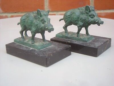 A beautiful Pair of Art Deco Vintage French Wild Boar Statues on Marble Bases