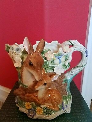 Fitz and Floyd Woodland Spring Pitcher, Deer, Fawn, Owl - New in  Box , RETIRED