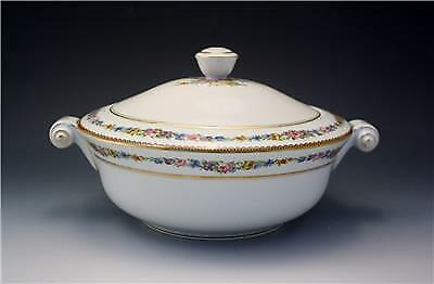 Vintage French Raynaud Limoges Porcelain Large Covered Dish Floral Bouquets