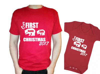Our first CHRISTMAS xmas Daddy bear baby bear personalised t-shirt baby vest 1st