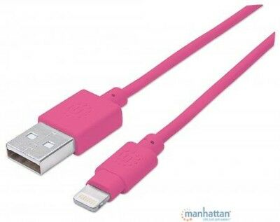 Manhattan iLynk Lightning auf USB Kabel für iPad/iPhone/iPod 1m pink, 394222