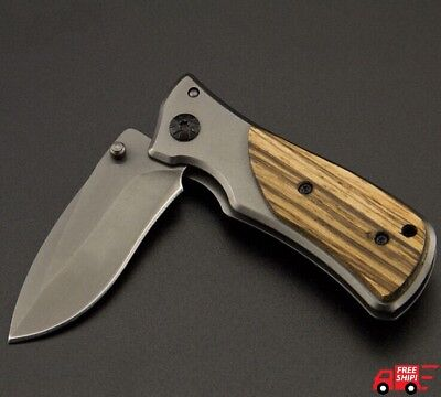 Outdoor Survival Tactical Camping Mini Pocket Knife 3Cr13Mov Blade Wood Handle
