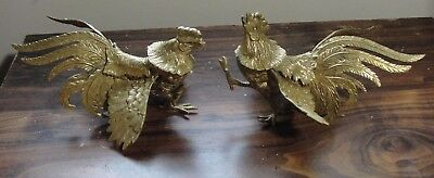 Vintage Pair Solid Brass Fighting Roosters Cocks *See Description For Size