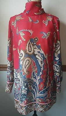 Soft Surroundings Paisley Sheer Tunic Top Red Blue Size Small No Cami
