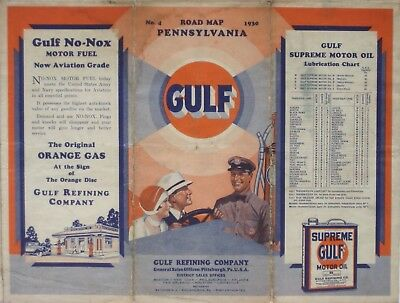 1930 GULF OIL Orange Gas Road Map PENNSYLVANIA Pittsburgh Philadelphia Route 30