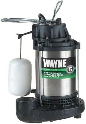 Wayne Submersible Sump Pump 3/4 HP Rugged Stainless Steel Cast Iron 4600 GPH