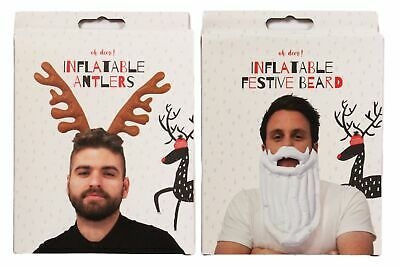 Christmas Inflatable Antlers Or Santa Beard Father Xmas Party Fancy Dress Work