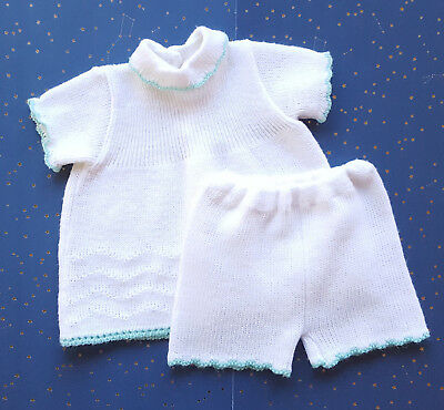 Vintage Soft Spun Sweater Dress Set Outfit Pants White Green Girl 12 - 18 months