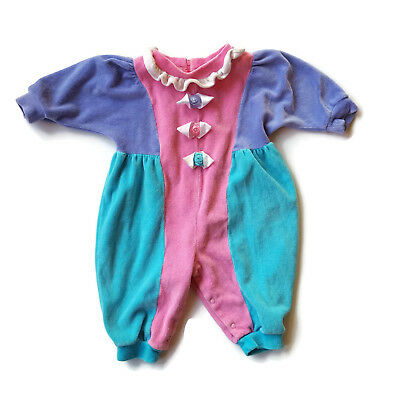 Vintage 80s Velour One Piece Baby Girls Pink Purple Color Block 6 - 9 month