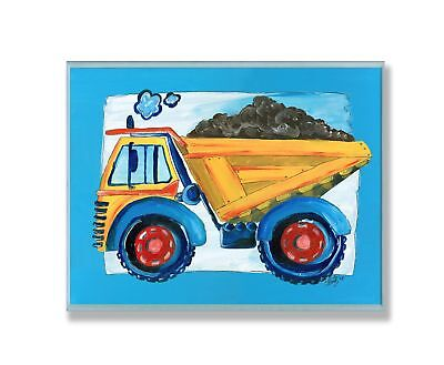 The Kids Room by Stupell Yellow Dump Truck with Blue Border Rectangle Wall Pl...