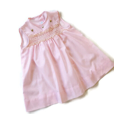 Vintage Kate Greenaway Dress Pink Smocked 3 T Frock Toddler Sleeveless