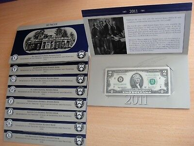 2011 $2 Single Note Collection Set All 9 Federal Reserve Banks, 2,000 Sets Only
