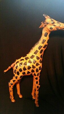 "VINTAGE Large Leather Wrapped Giraffe Figurine Statue Glass Eyes 18"" Tall"