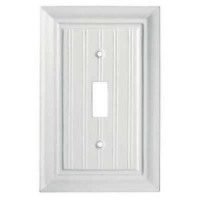 White Single Toggle Switch Wall Plate Beadboard Architectural Brainerd 126358