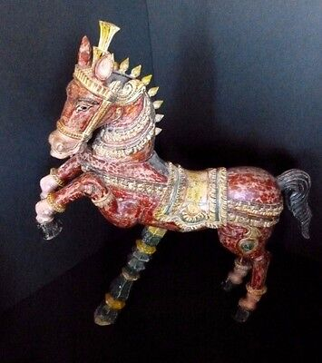 Hand Carved Polychrome Wooden Horse Figure Sculpture India Vintage Early 20th C.