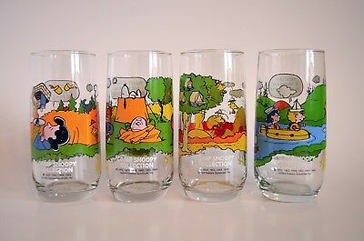 4 Vintage McDonalds Charlie Brown/Camp Snoopy Collection Collectible Glasses