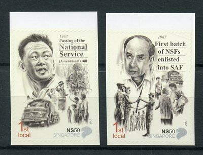 Singapore 2017 MNH National Service 50 Years 2v S/A Set Army Military Stamps