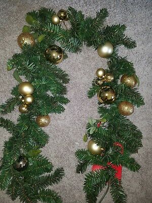 christmas garland 6 feet gold ornaments new
