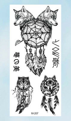 8be48ca6a US Seller- wristband tattoo wolf American native dreamcatcher temporary  tattoo