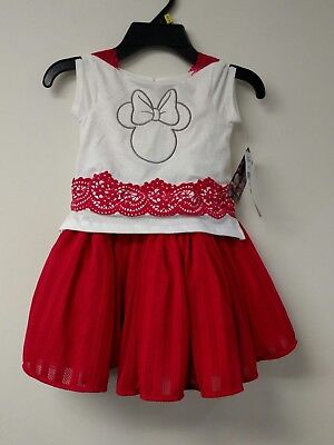 6908b777078 Girls Disney Junior Minnie Mouse Red White Tulle Dress Size 6