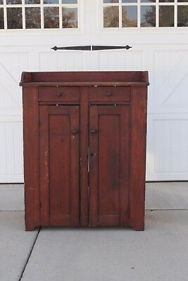 Early Aafa Antique Dovetailed Wood Dry Bittersweet Red Jelly Cabinet Cupboard