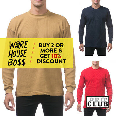 Proclub Pro Club Mens Casual Thermal T Shirt Plain Long Sleeve Shirts Heavy-Duty