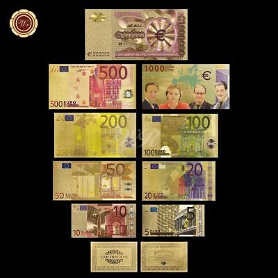 WR Full Set Europe GOLD Banknotes €5 10 20 - 1,000,000 Euros Note Colored +Album