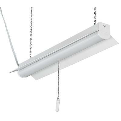 Commercial Electric 2' White Integrate LED Linkable Shoplight w/ 5ft Link Cable