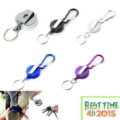 1PC 2 PCS Stainless Silver Retractable Key Chain Recoil Keyring Heavy Duty Steel