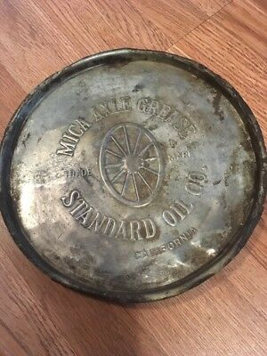 Antique Standard Oil Company Of California Mica Axle Grease Can Lid Advertising