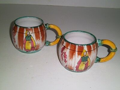Pair Vintage Italy Folk Art Pottery MUGS Hand Painted Numbered Rustic Cabin