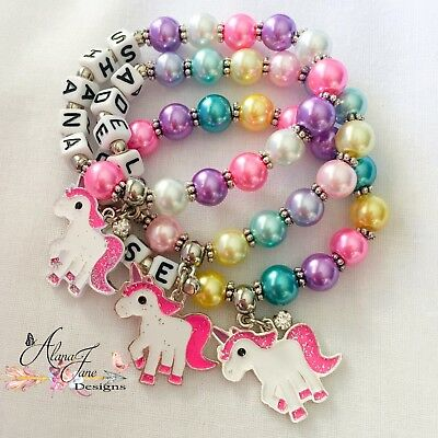 Personalised Unicorn Charm Name Bracelet Child Adult Rainbow, Bright, Pastel, Pu